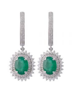 Second Hand 14ct White Gold Emerald and Diamond Earrings
