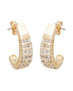 Second Hand 9ct Yellow Gold Multi Row Diamond Stud Earrings