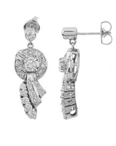 Second Hand 18ct White Gold Pave Diamond  Earrings