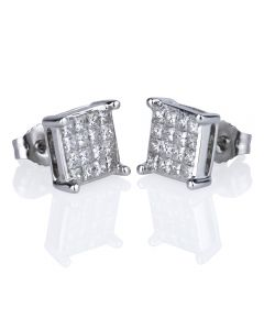 Second Hand 14ct White Gold Princess Cut Diamond Cluster Stud Earrings