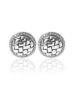 Second Hand Sterling Silver Diamond Set Plaited Stud Earrings