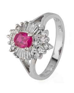 Second Hand 14ct White Gold Ruby and Diamond Cluster Ring 4328036