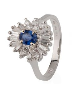Second Hand 14ct White Gold Sapphire and Diamond Oval Cluster Ring