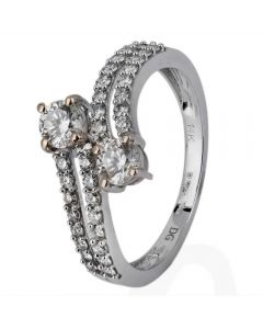 Second Hand 14ct White Gold Two Stone Diamond Crossover Ring