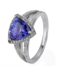 Second Hand 14ct White Gold Tanzanite and Diamond Cluster Ring