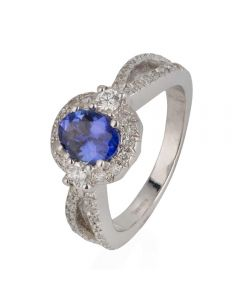 Second Hand 18ct White Gold Tanzanite and Diamond Oval Cluster Ring