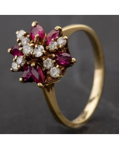 Second Hand Diamond and Ruby Fancy Claw Set Cluster Ring 4328086