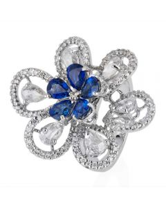 Second Hand 18ct White Gold Sapphire and Diamond Flower Cluster Ring