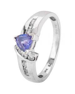 Second Hand 14ct White Gold Tanzanite and Diamond Ring 4328237
