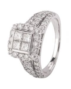 Second Hand 14ct White Gold Diamond Ornate Cluster Ring 4328243
