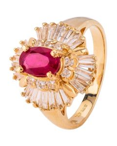 Second Hand 14ct Yellow Gold Ruby and Diamond Ballerina Ring