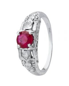 Second Hand 14ct White Gold Ruby and Diamond Ring 4328292