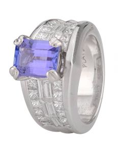 Second Hand Platinum Tanzanite and Diamond Ring 4328299