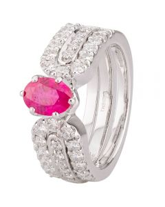 Second Hand 18ct White Gold Ruby and Diamond Ring Set
