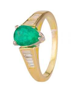 Second Hand 18ct Yellow Gold Emerald and Diamond Ring