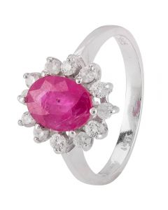 Second Hand 9ct White Gold Ruby and Diamond Cluster Ring