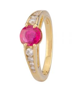 Second Hand 18ct Yellow Gold Ruby and Diamond Ring