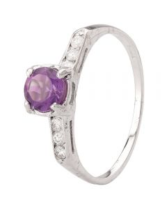Second Hand 14ct White Gold Amethyst and Diamond Ring