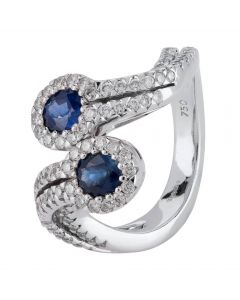 Second Hand 18ct White Gold Sapphire and Diamond Twist Ring