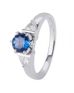 Second Hand 18ct White Gold Sapphire and Diamond Ring