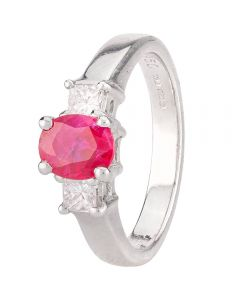 Second Hand Platinum Ruby and Diamond Three Stone Ring