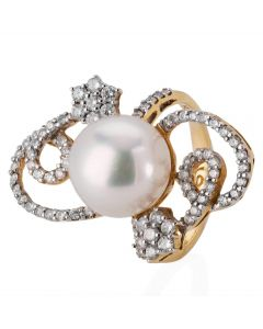 Second Hand 18ct Yellow Gold South Sea Pearl and Diamond Ring