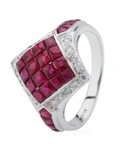 Second Hand 18ct White Gold Ruby and Diamond Ring 4229571