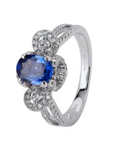 Second Hand 18ct White Gold Sapphire and Diamond Ring 4329687
