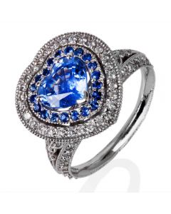 Second Hand 18ct White Gold Heart Sapphire And Diamond Cluster Ring