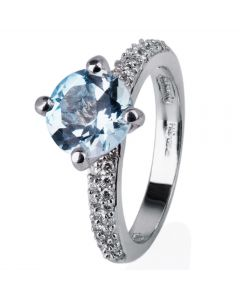 Second Hand 18ct White Gold Blue Topaz and Diamond Ring