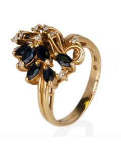 Second Hand 14ct Yellow Gold Sapphire and Diamond Spray Ring