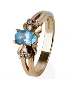 Second Hand 9ct Yellow Gold Blue Topaz and Diamond Cluster Ring