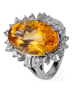 Second Hand 14ct White Gold Citrine and Diamond Cluster Ring