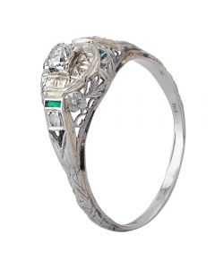 Second Hand 9ct White Gold Diamond and Emerald Ring