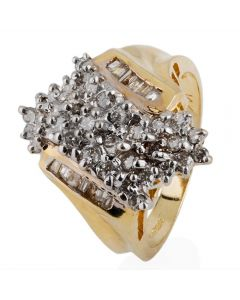 Second Hand 14ct Yellow Gold Multi Diamond Cluster Ring