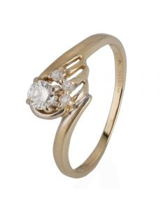 Second Hand 14ct Yellow Gold Diamond Solitaire Crossover Ring