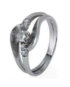Second Hand 9ct White Gold Diamond Wave Ring