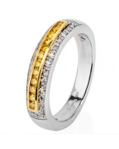Second Hand Platinum Yellow and White Diamond Three Row Ring