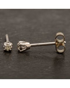 Second Hand 14ct White Gold 0.07ct Four Claw Diamond Stud Earrings