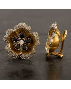 Second Hand 14ct Yellow Gold Sapphire & Diamond Flower Clip-On Earrings