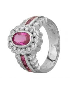 Second Hand Platinum 1.50ct Ruby and 0.75ct Diamond Flower Cluster Ring 4335014