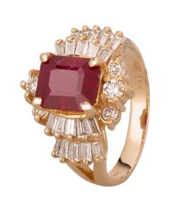 Second Hand 14ct Yellow Gold 2.00ct Ruby and 1.00ct Multi-Cut Diamond Cluster Ring