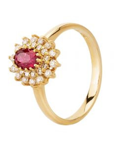Second Hand 14ct Yellow Gold Burma Ruby and Diamond Cluster Ring 4335047