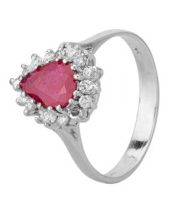 Second Hand 14ct White Gold Ruby and Diamond Pear Shaped Halo Ring