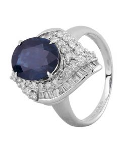 Second Hand Platinum 3.60ct Sapphire and Diamond Cluster Ring