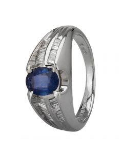 Second Hand Platinum 0.90ct Sapphire and Diamond Shoulders Ring