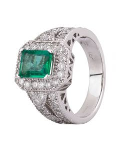 Second Hand 18ct White Gold 1.20ct Emerald and Diamond Halo Ring