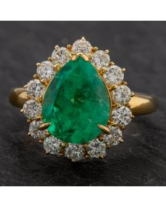 Second Hand 18ct Yellow Gold 3.18ct Pear Shaped Emerald & 1.00ct Diamond Cluster Ring