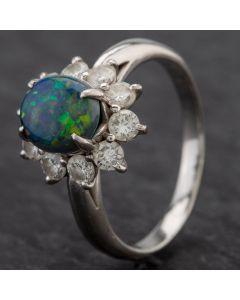Second Hand Platinum 1.36ct Black Opal & 0.88ct Diamond Cluster Ring 4338006
