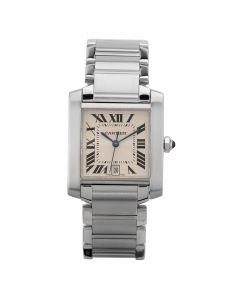 Second Hand Cartier Tank Francaise Square Silver Bracelet Watch 2302-2